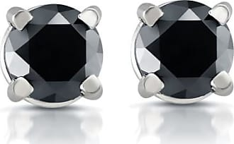 Pompeii3 White Gold 1/2ct Round Cut Black Diamond Studs 14k