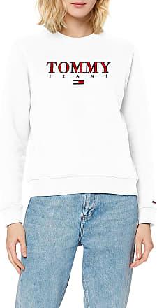 Tommy Jeans Womens TJW Essential Logo Sweatshirt, White (White Ya2), 12 (Size:L)