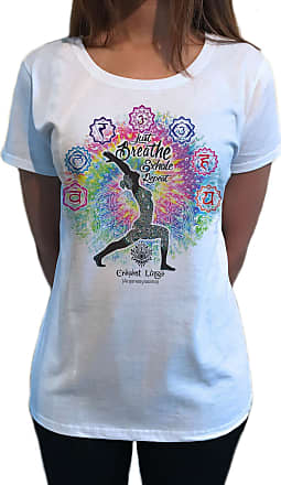 Irony Womens Top Buddha Chakra Yoga, Anjanesyasana Cresent Lunge Pose TS1090 (White, Medium)