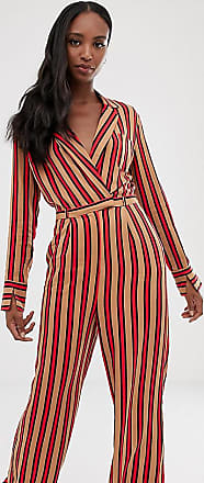 Collusion Tall stripe wrap jumpsuit-Multi