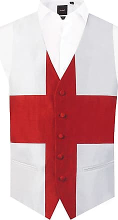 Dobell Mens England St George Waistcoat Regular Fit 5 Button-4XL (58-60in) White/Red