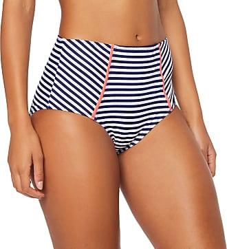 Pour Moi? Womens Sea Breeze Control Brief Bikini Bottoms, Blue (Navy/Coral Navy/Coral), 28 (Size:12)