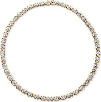 PalmBeach Jewelry 1/4 TCW Diamond X and O Necklace in 18k Yellow Gold-Plated
