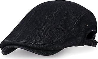 Ililily Cotton Denim Adjustable Gatsby Newsboy Hat Cabbie Hunting Flat Cap, Black