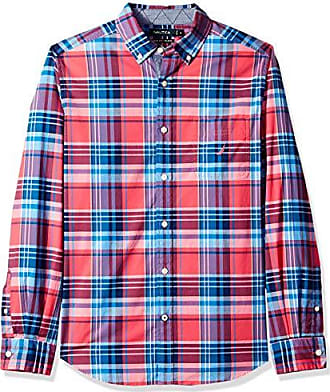 Nautica Mens Classic Fit Stretch Long Sleeve Plaid Button Down Shirt, Melonberry X-Large