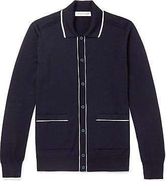 Orlebar Brown Slim-fit Contrast-tipped Merino Wool Cardigan - Navy