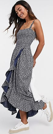 Hollister all over floral print dress in blue-Navy