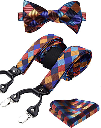 Hisdern Various Classic 6 Clips Suspender & Bowtie and Pocket Square Set Y Shape Adjustable Braces, One Size, Orange