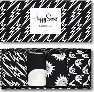 Happy Socks Mens Black & White Gift Box - Black - Large