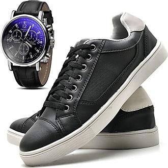 Juilli Kit Sapatênis Sapato Casual Com Relógio JUILLI Masculino Com Cadarço 04M Tamanho:42;cor:Preto;gênero:Masculino