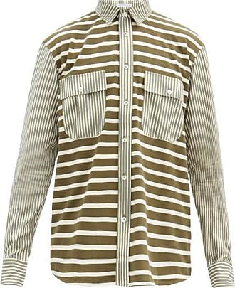J.W.Anderson Striped Cotton Shirt - Mens - Green
