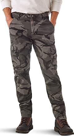 Wrangler Mens Authentics Regular Tapered Cargo Pants, Grey Camo, 31W x 32L