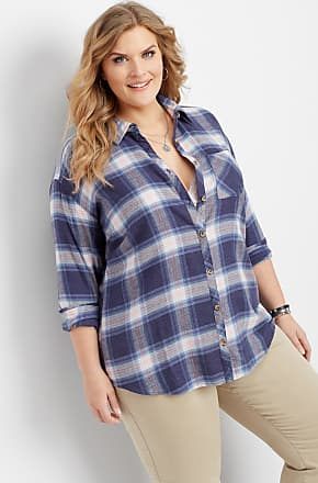 d3a278c53 Maurices Plus Size - Plaid Oversized Pocket Tunic Button Down Shirt