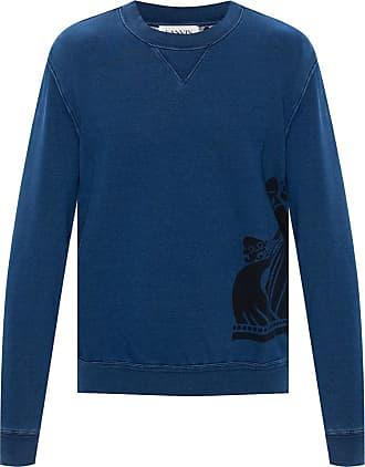 Lanvin Sweatshirt With Logo Mens Navy Blue