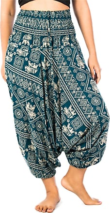 Lofbaz Womens Elephant Stamp 2 in 1 Harem Trousers Jumpsuit Teal Green L