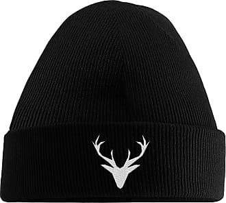 HippoWarehouse Stag Embroidered Beanie Hat Black