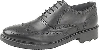 Roamers Mens M179 Black Leather 5 Eyelet Brogue Oxford Shoe Size 8 UK