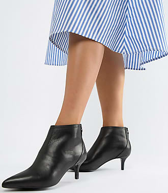 Mango real leather pointed kitten heel ankle boot - White