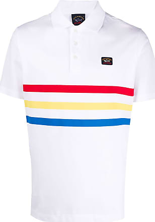 Paul & Shark Camisa polo listrada com logo - Branco