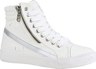 7544b711d50cc9 Stiefelparadies Damen Schuhe Sneaker High Metallic Turnschuhe Stoff Schuhe  Schnürer 156914 Weiss Zipper 37 Flandell