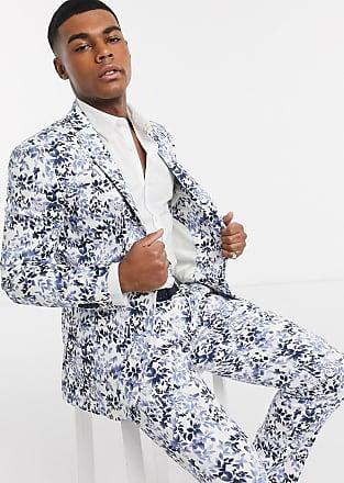 Topman skinny fit suit jacket in floral print-Grey