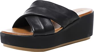 Inuovo Womens Leather Crossover Wedge Sliders 8 Black