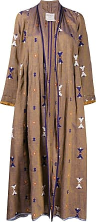 Forte_Forte geometric embroidery oversized coat - Brown