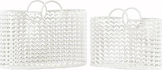 Urban Trends Collection Urban Trends Metal Stadium Shaped Basket with 2 Ring Handles and Perforated Chevron Pattern (Set of 2), White