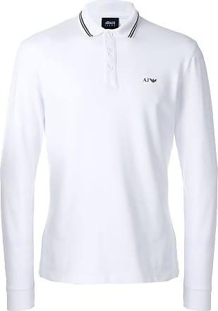 Armani Jeans striped collar polo shirt - White