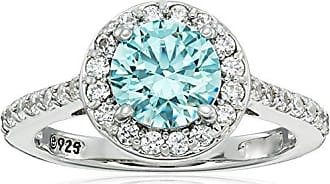 Amazon Collection Platinum-Plated Sterling Silver Round-Cut Frosty Mint Halo Ring made with Swarovski Zirconia, Size 7