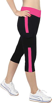 iLoveSIA Womens Tights Capri Yoga Running Pants Leggings Black+Rose M