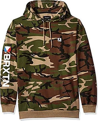 Brixton Mens Stowell Relaxed Standard Fit Hood Fleece Sweatshirt, camo, M