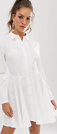 Unique21 Unique21 - Vestito camicia con pieghe frontali-Bianco