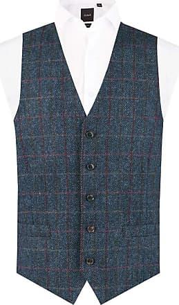 Dobell Scottish Harris Tweed Mens Dark Blue Tweed Waistcoat Regular Fit 100% Wool Windowpane Check-XL (46-48in)