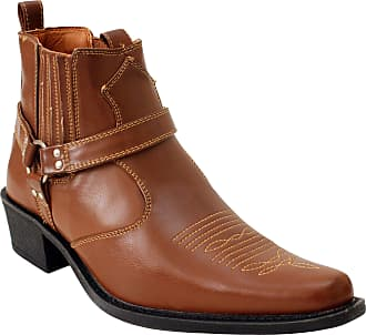 US Brass Mens Eastwood Slip On Harness Twin Gusset Western Heel Cuban Ankle Heel Cowboy Boots UK Sizes 7-12 (UK 11, Tan)