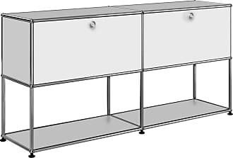 USM Sideboard mit 2 Klapptüren oben H74cm - reinweiß RAL 9010/152x37x74cm