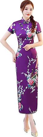 Zhuhaixmy Chinese Style Qipao for Women, Long Dress Plus Size Cheongsam Evening Dress Qipao for Wedding Purple