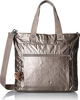 Kipling Lizzie Laptop Tote Bag, Removable, Adjustable Crossbody Strap, Zip Closure, metallic pewter