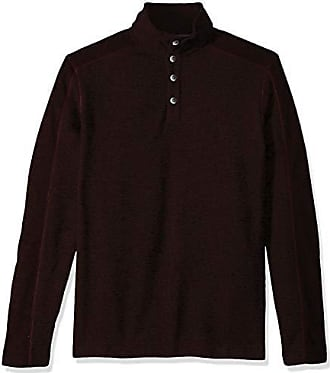 Van Heusen Mens Size Big and Tall Solid Button Mock Sweater Fleece, red rubia, 4X-Large Tall