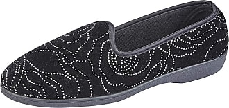 Zedzzz Beverly Ladies Diamante Slippers Black UK 4