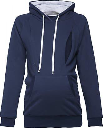 Happy Mama Womens Maternity Hoodie Nursing Sweatshirt Kangaroo Pocket. 324p (Navy, UK 16, 2XL)