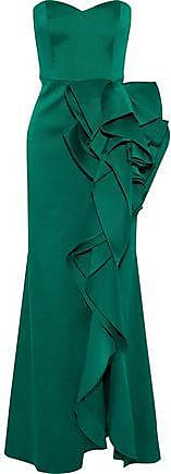 7311d7d31ffb Badgley Mischka Badgley Mischka Woman Strapless Ruffled Duchesse Satin-twill  Gown Emerald Size 14