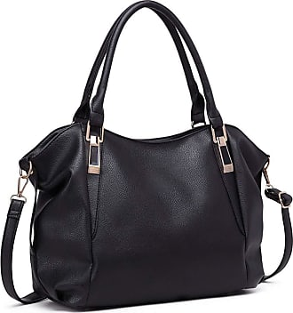 Quirk Soft Leather Look Slouchy Hobo Shoulder Bag Black