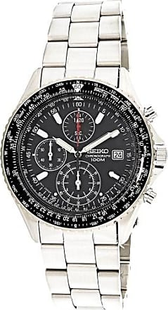 Seiko Chronograph Tachymeter Black Dial Mens Watch SND253