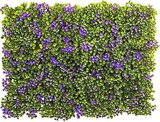 Nearly Natural Clover Mat (Set of 12), 6 x 6, Purple/Green