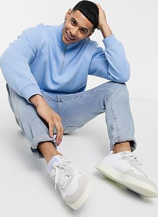 Topman Blaues Sweatshirt mit halblangem Reißverschluss