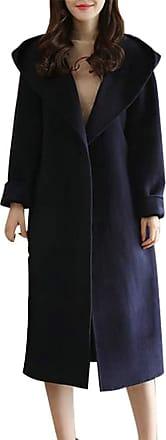 H&E Women Belt Hooded Tie Solid Midi Overcoat Wool Blend Coat Jacket Navy XXL