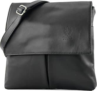 Craze London Double Pocket Genuine Italian Leather Cross body Messenger Shoulder Bag (Black.)