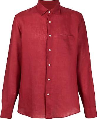 Peninsula Camisa com abotoamento simples de linho - Vermelho