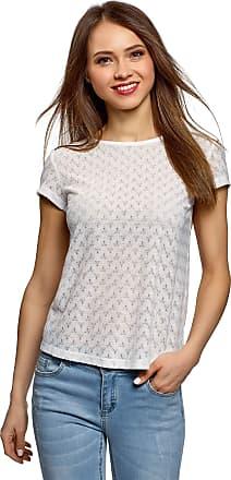 oodji Womens Ethnic Print T-Shirt in Textured Fabric, White, UK 16 / EU 46 / XXL